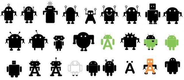 Varios bocetos preliminares que se consideraron para la elección del diseño de Android