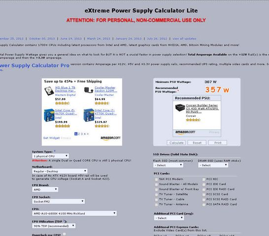 eXtreme Power Supply Calculator Lite. consumo de energía de una computadora