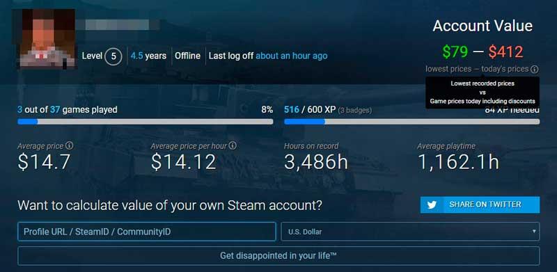 cuanto vale tu cuenta de steam
