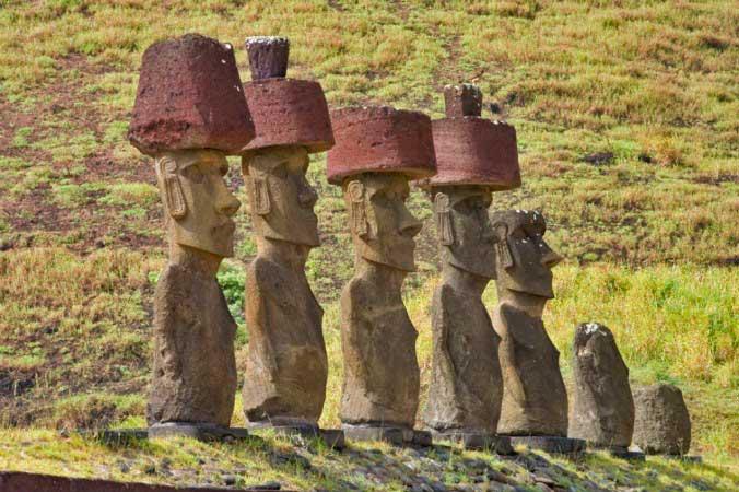 Sombreros rojos moais