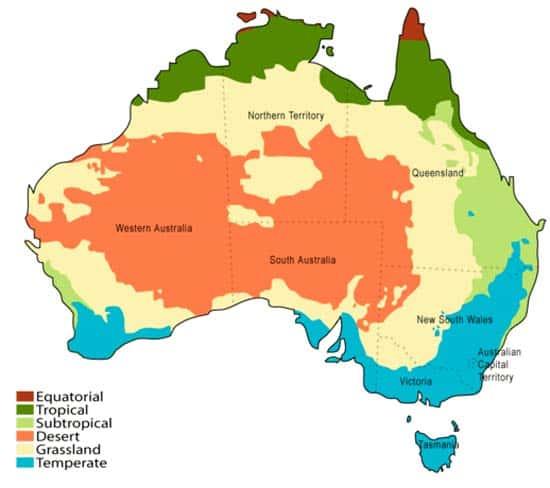 mapa Desiertos de Australia